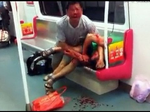 Zombies At It Again Old Man Eating Dude For Last Seat On The Subway In China