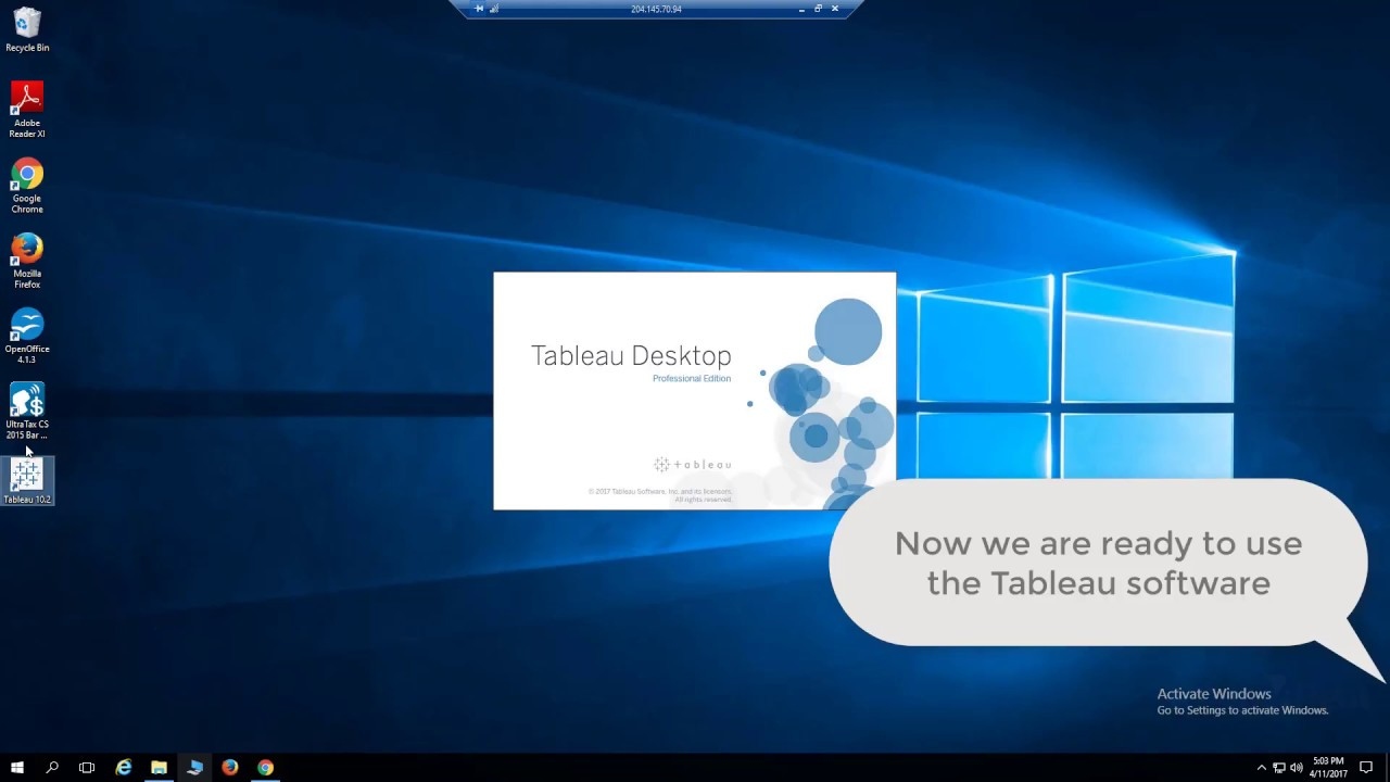 How to install Tableau Big Data visualization software on a Virtual Desktop