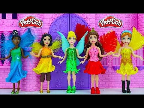 Tinkerbell Fairy Play Doh Dresses - Princess Anna Belle Cinderella Magic Clip Dolls