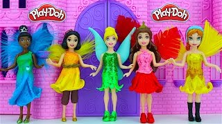 Tinkerbell Fairy Play Doh Dresses - Disney Princesses Anna Belle Cinderella Magic Clip Dolls