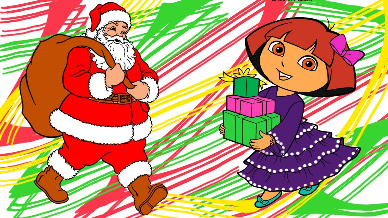santa send gift box to dora the explorer christmas coloring book