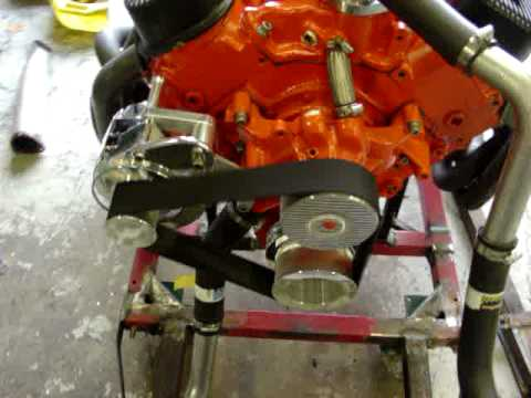 "454 Big Block Chevy with 2"" wide cog belt pulleys - YouTube"