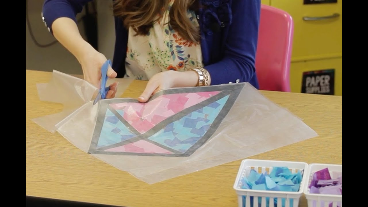 How to Make Tissue Paper Stained Glass Kite Window ...