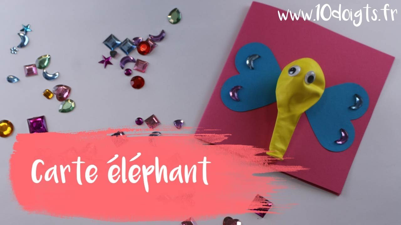 fabriquer une carte l phant avec un ballon de baudruche diy tutoriel vid o 10 doigts youtube. Black Bedroom Furniture Sets. Home Design Ideas