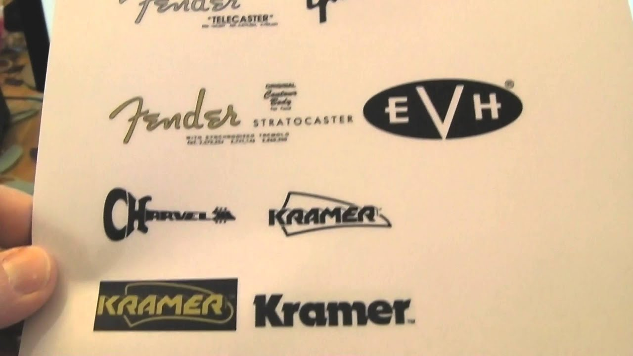 How to make guitar headstock decal sticker logo