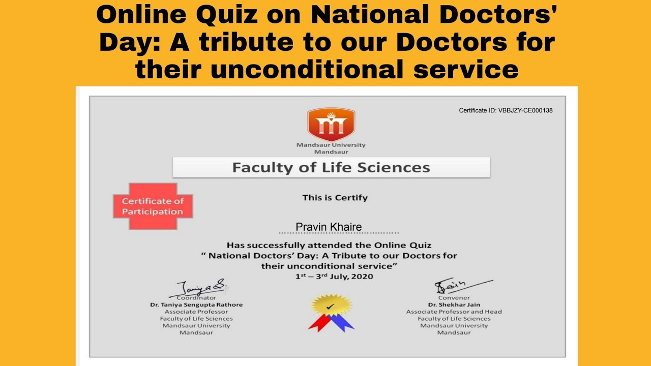 Online Quiz on National Doctors' Day: A tribute to our Doctors for their unconditional service