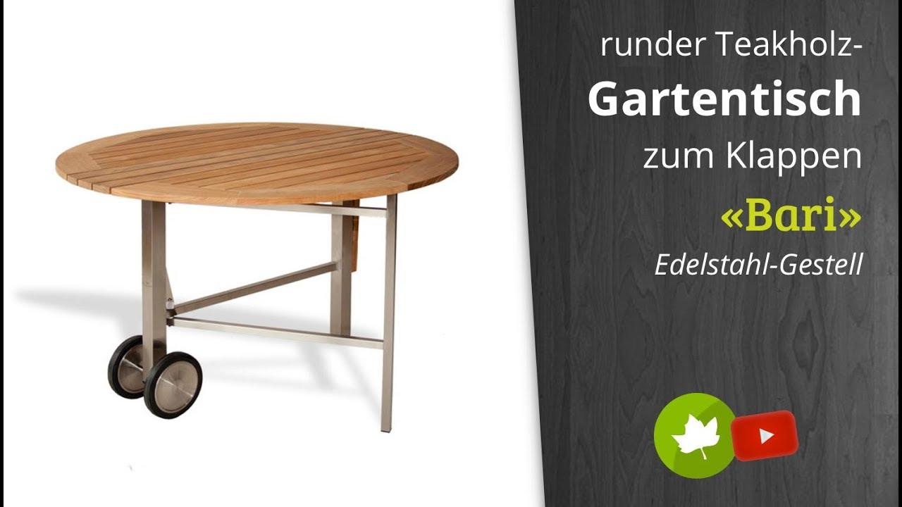 Diamond Garden Teak Gartentisch Bari Edelstahl Gestell Rund Mit