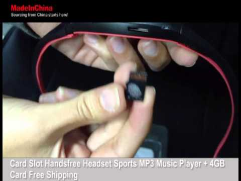 MadeInChina- Card Slot Handsfree Headset Sports MP3 Music Player + 4GB Card Free Shipping