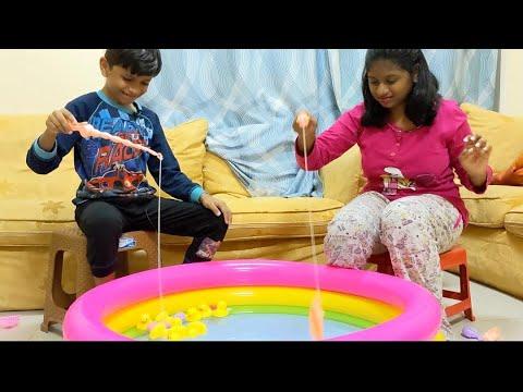 FUNNY GAME CHALLENGE!   வீட்டில் மீன் பிடிக்கும் போட்டி   🤣 SEMMA GAME..🔥WINNER யாரு?   DUBAI V2