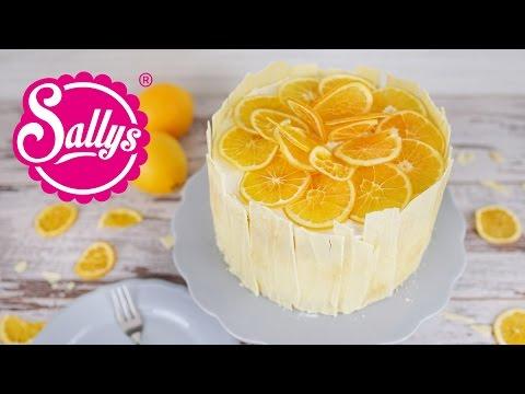 Orangentorte mit weißer Schokolade und Orangenchips