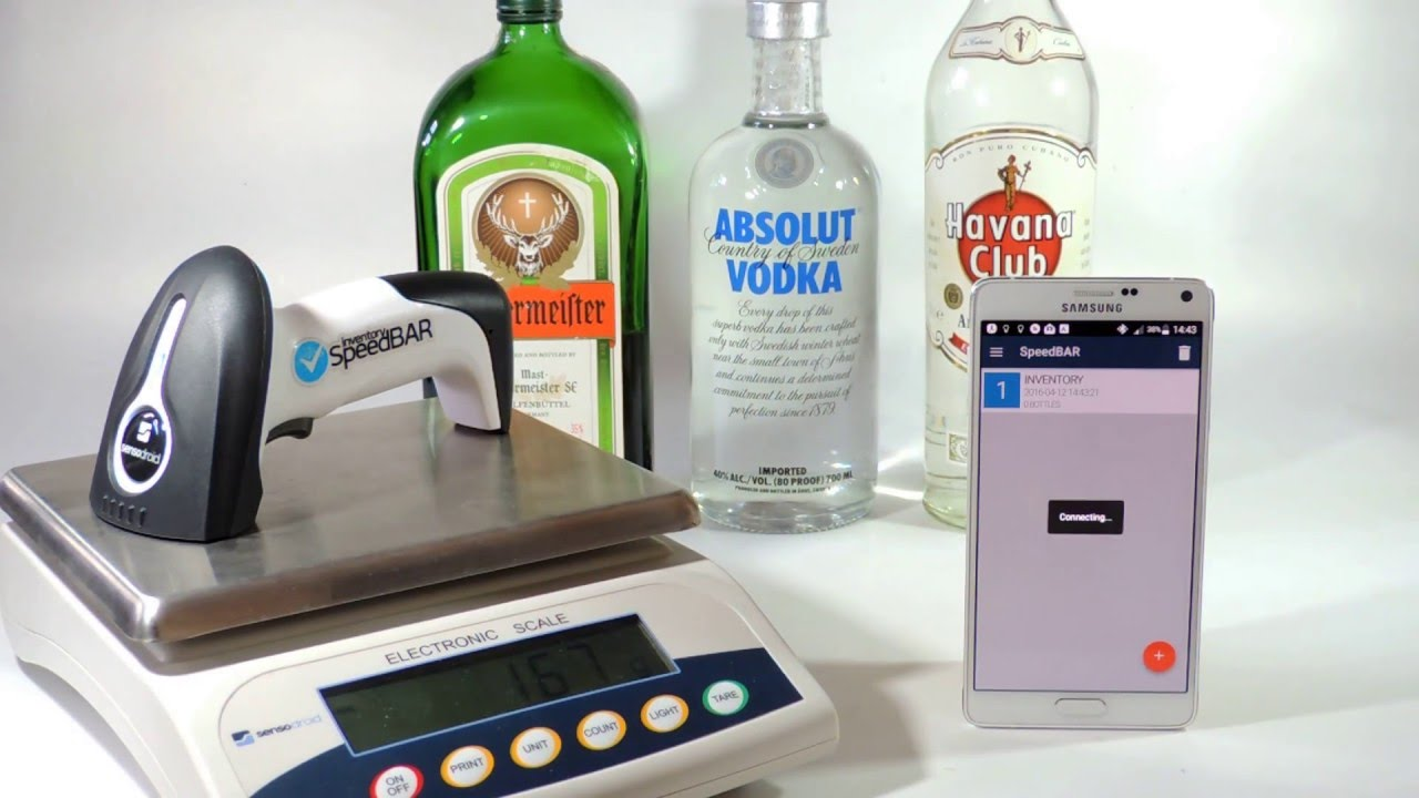 SpeedBAR alcohol inventory bluetooth barcode reader/scale - Liquor ...