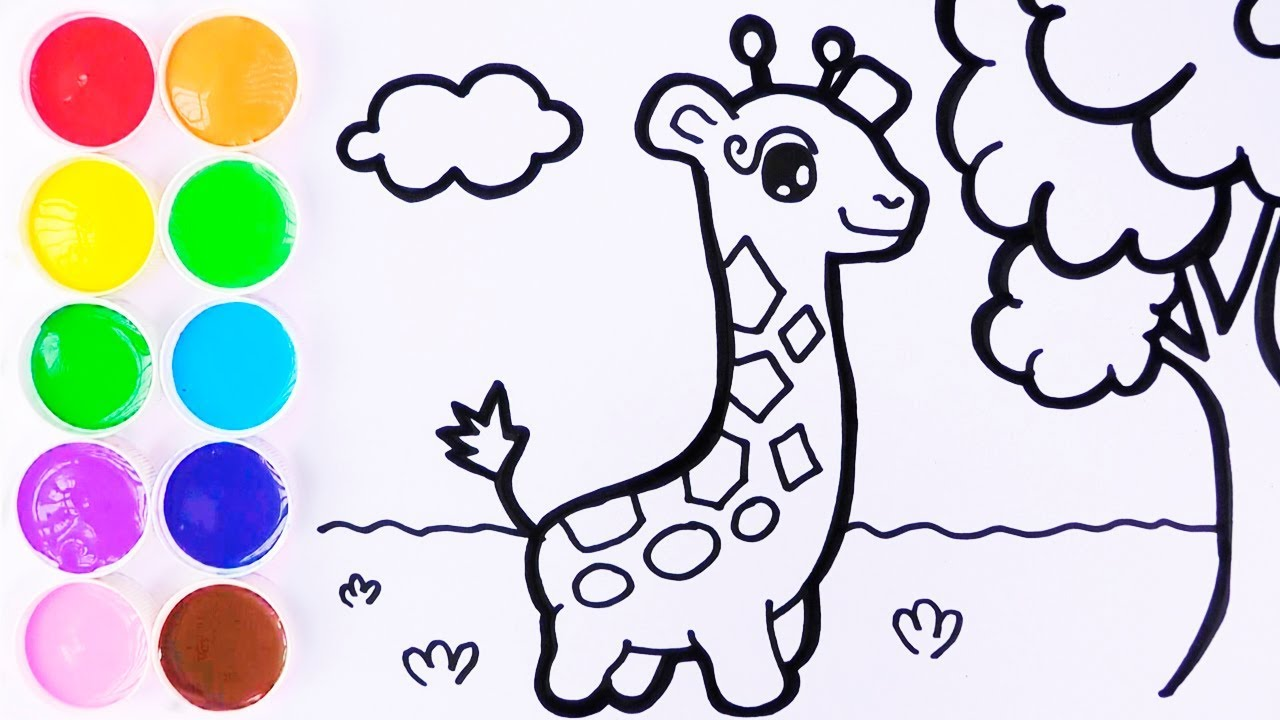 Como Dibujar Y Colorear Jirafa De Arco Iris Dibujos Para Niños Learn Colors For Kids Funkeep