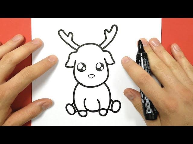 Comment dessiner un renne kawaii assis - Dessin bonhomme assis ...