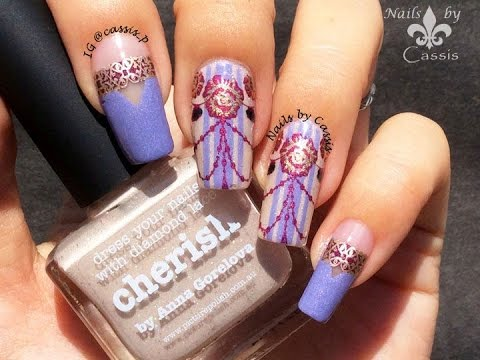 Purple Victorian Rose Stamping Nail Art - YouTube