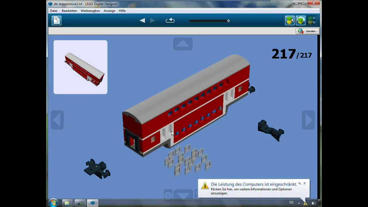 lego zug doppelstockwagen zum nach bauen youtube. Black Bedroom Furniture Sets. Home Design Ideas