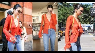 Kendall Jenner Braless See Through Candids in New York