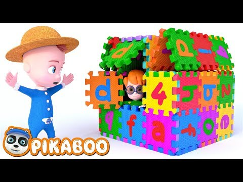 BABY BUILDS ABC PLAYHOUSE | Animals Cartoon for Kids | Pretend Play with PiKaBOO