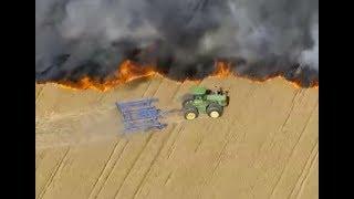 Tractor haciendo cortafuegos | Agricultor apagando fuego.