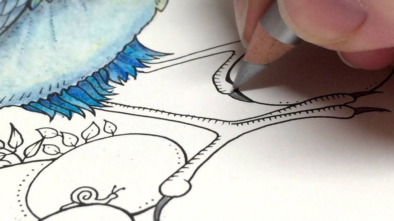 asmr coloring enchanted forest blue bird 13 blended pencil