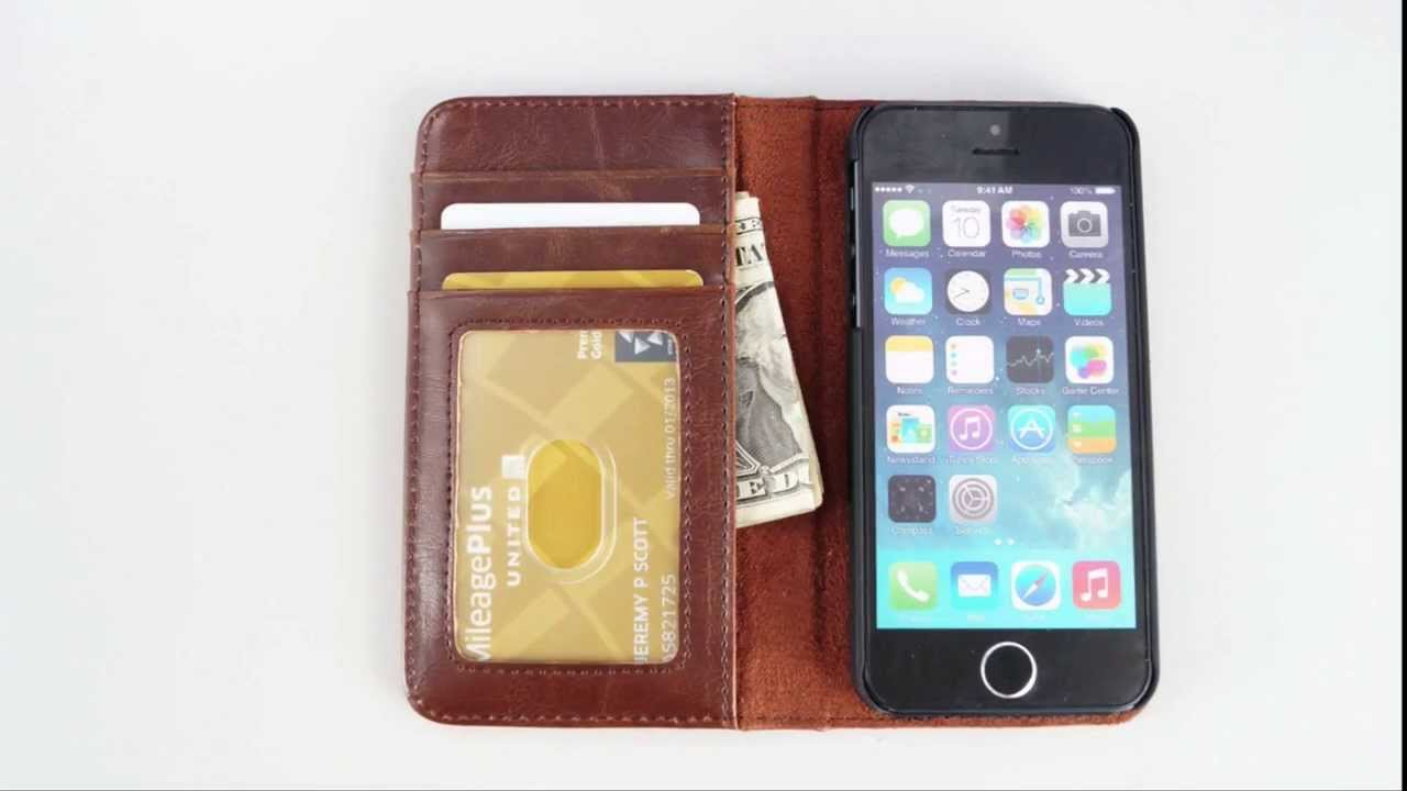 the latest 3e9e0 4580b iPhone 5/5S Book Case - Faux Leather Vintage Style Cover