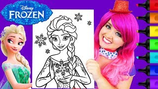 Coloring Frozen Elsa Snow Queen GIANT Coloring Page Prismacolor Markers | KiMMi THE CLOWN