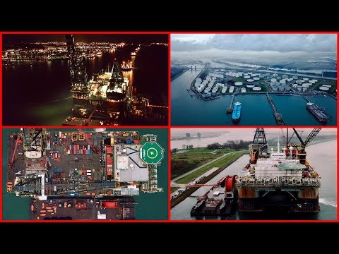 Drone view on Landtong Rozenburg and the Crane Ship Thialf