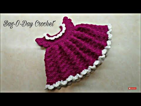 Learn How To #Crochet The Sugar Plum Baby Dress Newborn size TUTORIAL #319