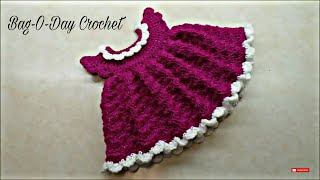 Repeat youtube video CROCHET How To #Crochet Newborn Baby Shell Stitch Dress #TUTORIAL #319 LEARN CROCHET