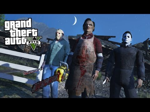 GTA 5 MODS HALLOWEEN SPECIAL w JASON, LEATHERFACE & MICHAEL MYERS!! GTA 5 Mods