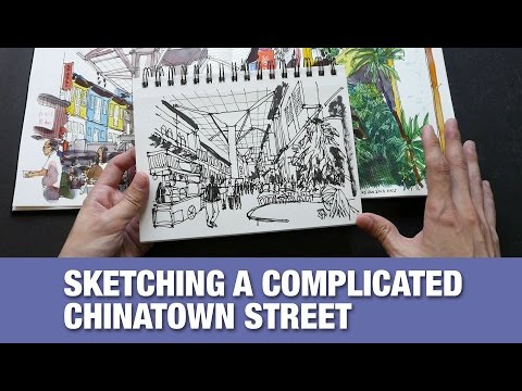 Chinatown Food Street Pen & Ink Sketch Tutorial