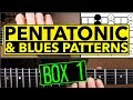How To Play Minor Pentatonic & Blues Scales Guitar Lesson - Box 1