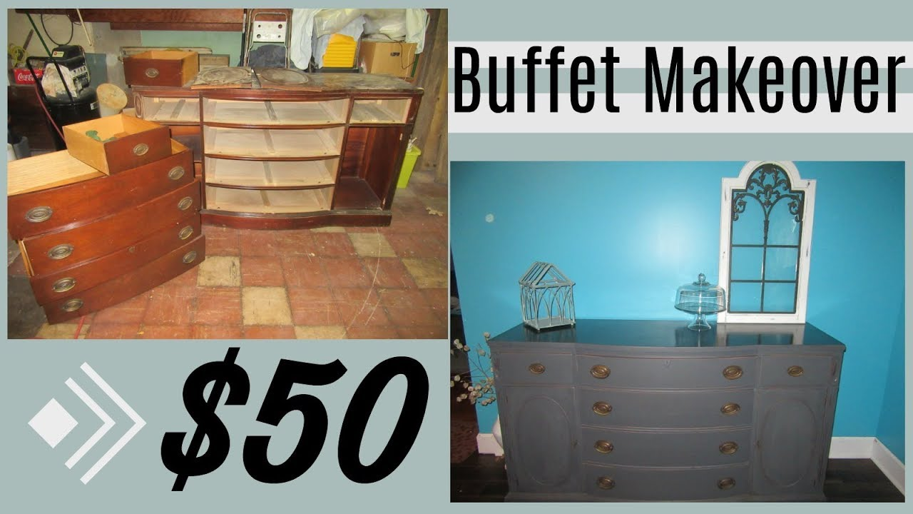$50 Buffet Makeover!   Rust-Oleum Chalk Paint - YouTube