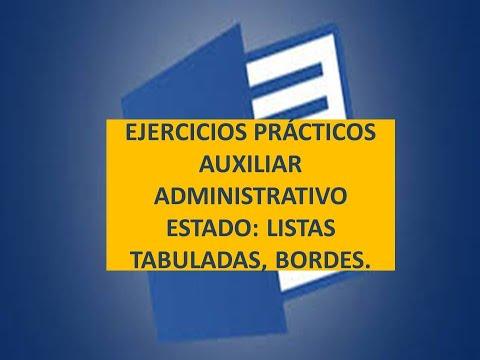 👍👍💲💲ejercicio-prÁctico-word-oposiciÓn-auxiliar-administrativo-estado-lista-tabulada-bordes