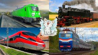 Изучаем цвета и поезда, железнодорожный транспорт для детей. Обучающее видео