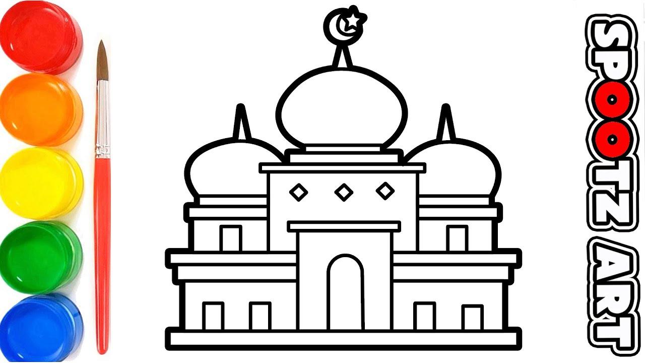 Cara Menggambar dan Mewarnai Masjid - Drawing For Kids