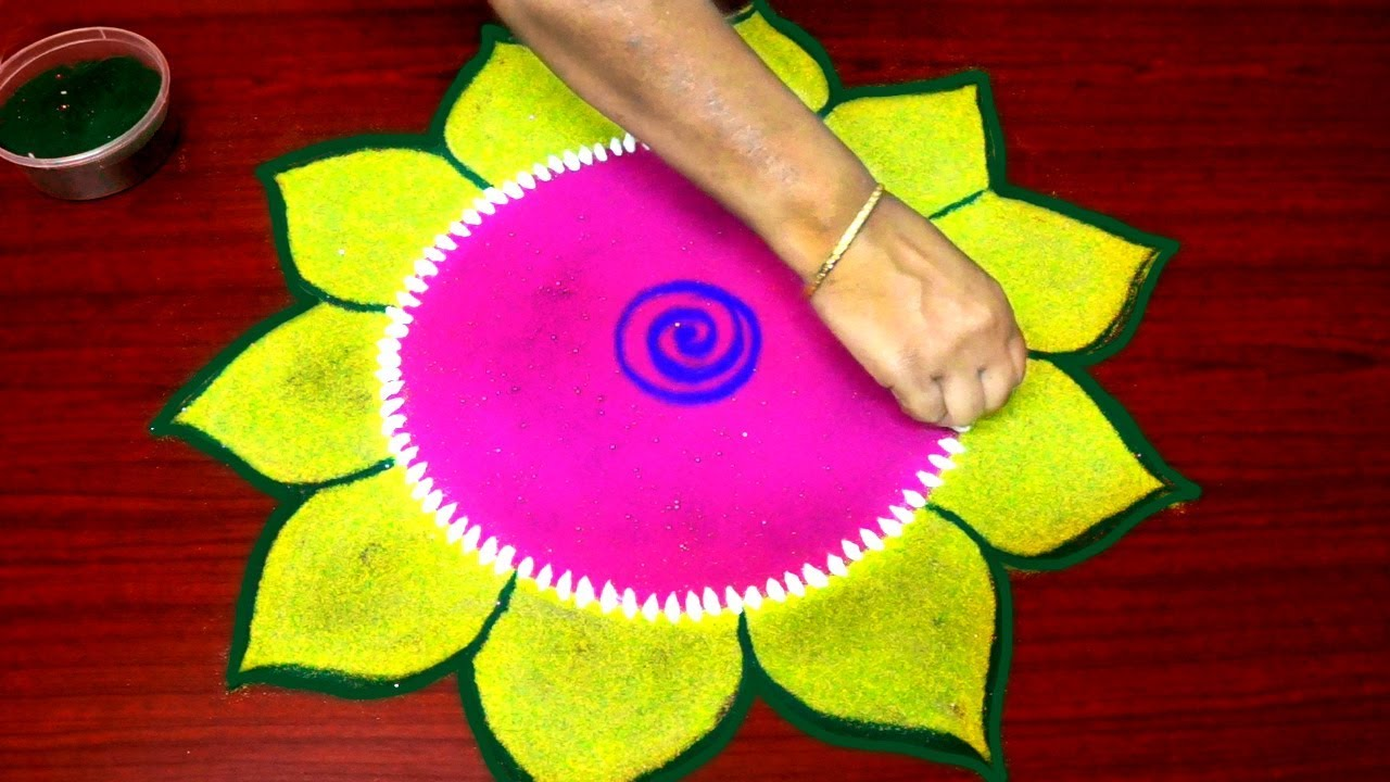 new year rangoli designs simple and easy - colour kolam for new