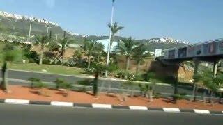 Путешествия. Израиль. Автобусная экскурсия в приморский город-порт Хайфу. Красивый вид из окна