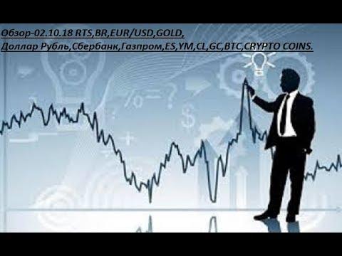Обзор-02.10.18 RTS,BR,EUR/USD,GOLD, Доллар Рубль,Сбербанк,Газпром,ES,YM,CL,GC,BTC,CRYPTO COINS