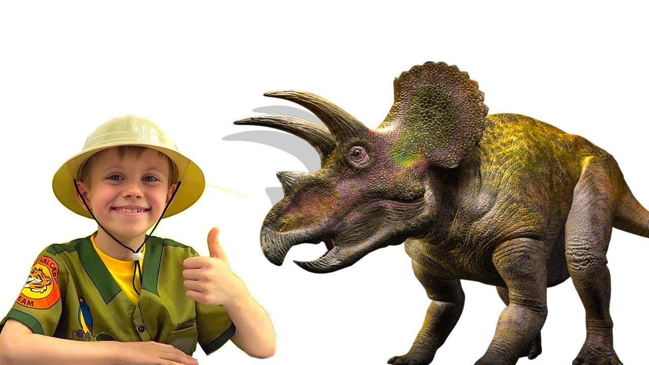 ДИНОЗАВРЫ для мальчиков - Даник играет в палеонтолога и делает раскопки. Dinosaurs for boys. 13+