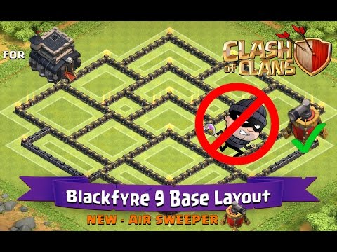 Clash Of Clans: TH9   BEST Farming Base Layout (with Air Sweeper) - Blackfyre 9