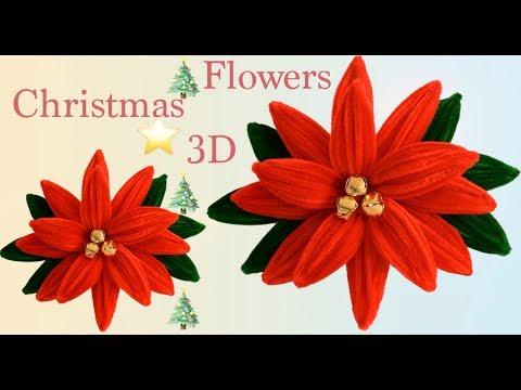 Como hacer Flores Nochebuena o flores para decorar en Navidad 3D con limpiapipas tallermanualperu