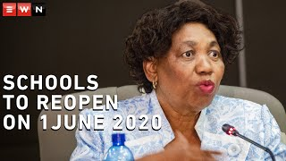 Minister of Basic Education Angie Motshekga announced on Tuesday that schools around the country would reopen on 1 June 2020 for grades 7 and 12, as well as some smaller schools.Other pupils will return in a phased approach.