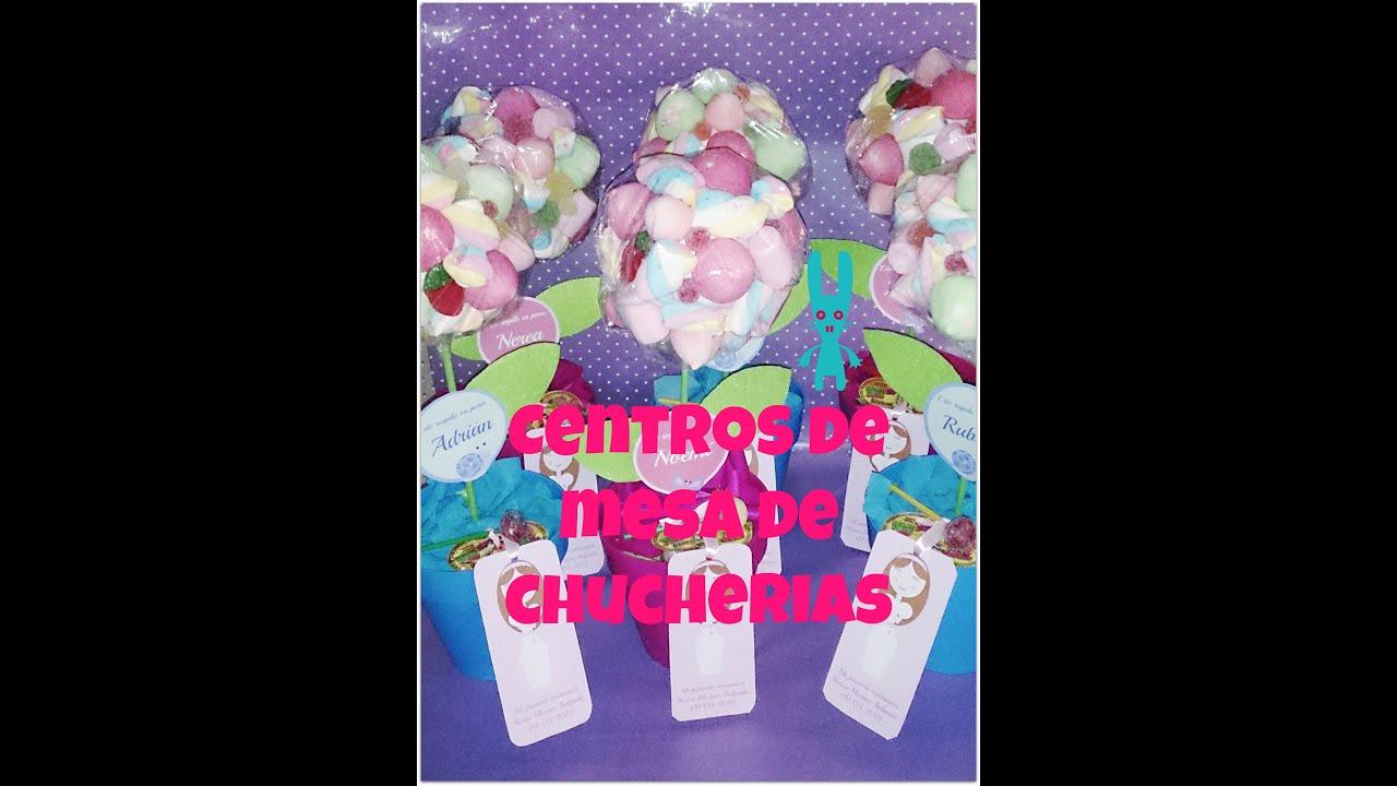 Diy centro de mesa para comuni n con forma de flor y for Centros de mesa con chuches