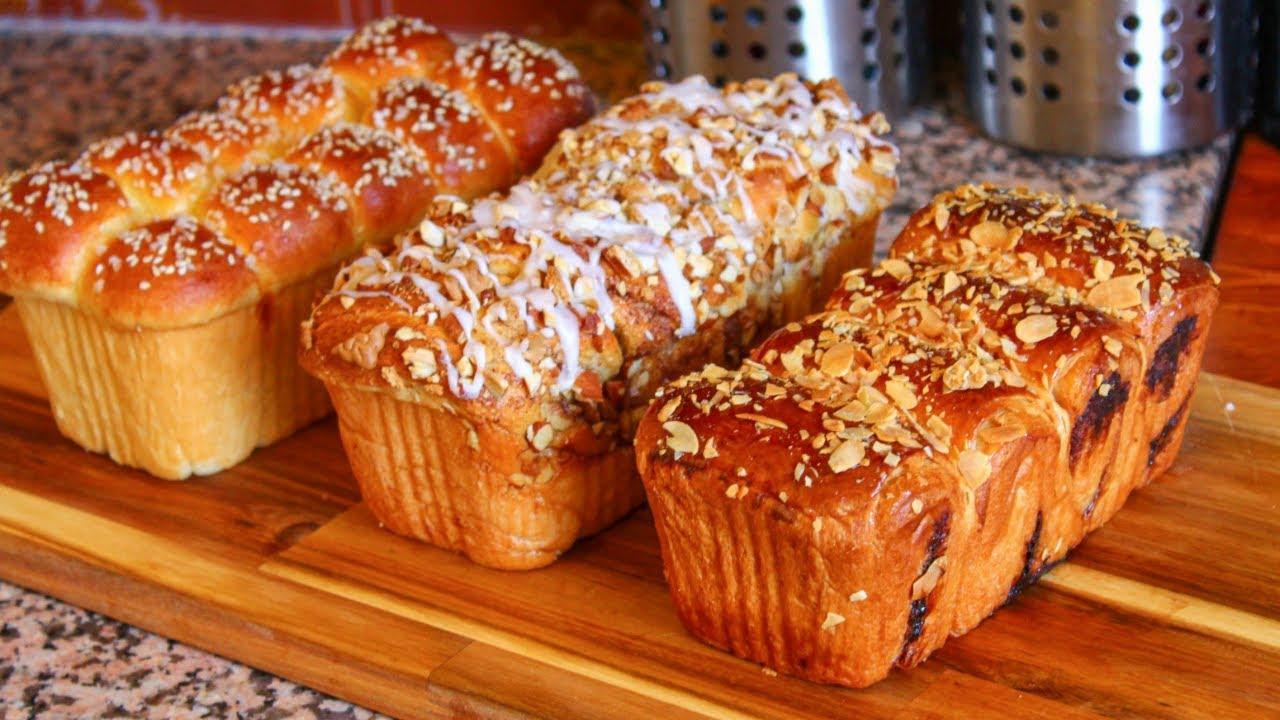 اخيرا فيديو يهنيك من فطور3أيام!ثلاث انواع بريوش الفطور الرااائع مذاقات مختلفة بالعجينة التحفة الطرية