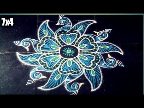Easy and simple peacock rangoli design with 7x4 dots made easy to draw