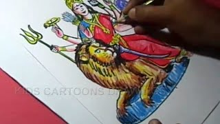 How to Draw Hindu Goddess Kanakadurga With Lion Drawing Step by Step  for Kids