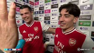Hector Bellerin reacts after scoring late Arsenal equaliser at Chelsea