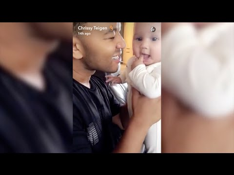 John Legend Plays With Baby Luna While Chrissy Cooks