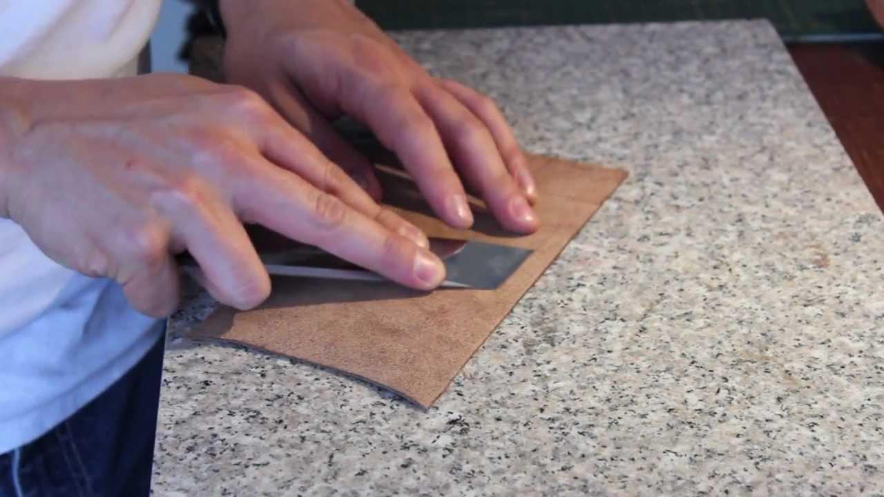 C mo desbastar cuero a mano how to hand skive leather for Como hacer una banqueta tapizada