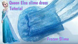 Diy Frozen slime tutorial   Queen Elsa slime dress  slime gaun ratu elsa